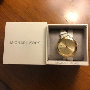 Michael Kors White Leather Criss-Cross Watch